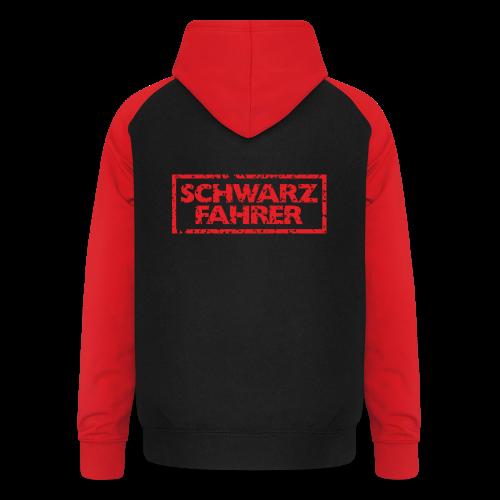 Schwarzfahrer T-Shirt (Schwarz Rot) Rücken - Unisex Baseball Hoodie