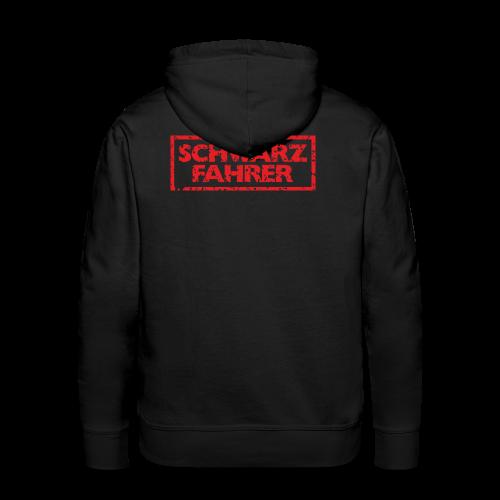Schwarzfahrer T-Shirt (Schwarz Rot) Rücken - Männer Premium Hoodie