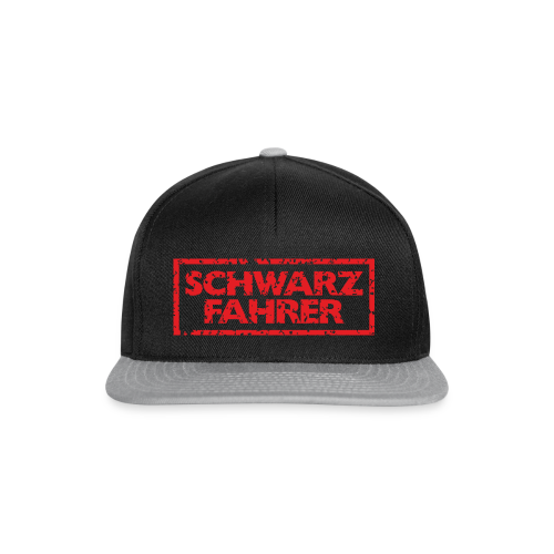 Schwarzfahrer T-Shirt (Schwarz Rot) Rücken - Snapback Cap