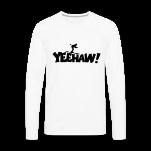 Yeehaw Skiing T-Shirt (Weiß/Schwarz) Herren - Männer Premium Langarmshirt