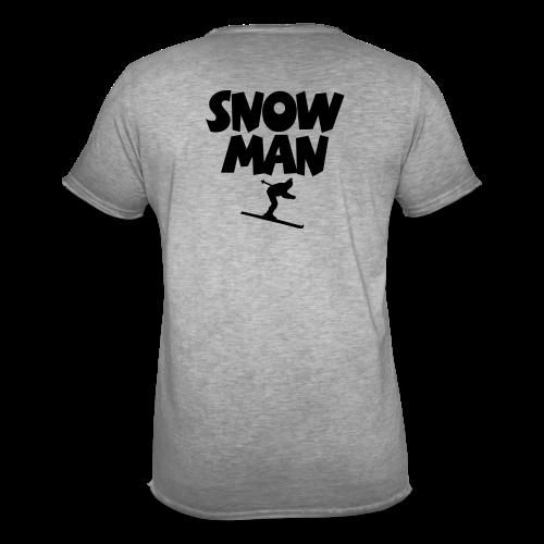 Snowman Après-Ski T-Shirt (Grau/Schwarz/Rücken) - Männer Vintage T-Shirt
