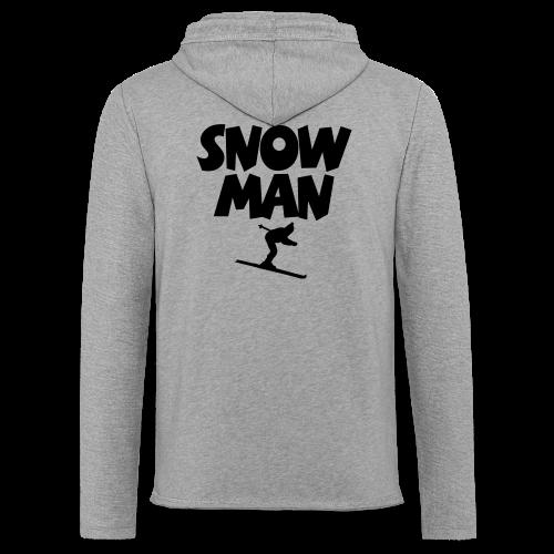Snowman Après-Ski T-Shirt (Grau/Schwarz/Rücken) - Leichtes Kapuzensweatshirt Unisex