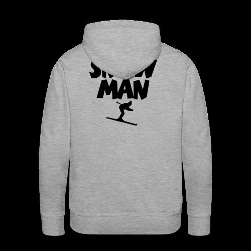 Snowman Après-Ski T-Shirt (Grau/Schwarz/Rücken) - Männer Premium Hoodie