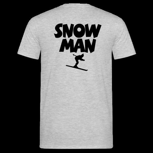 Snowman Après-Ski T-Shirt (Grau/Schwarz/Rücken) - Männer T-Shirt