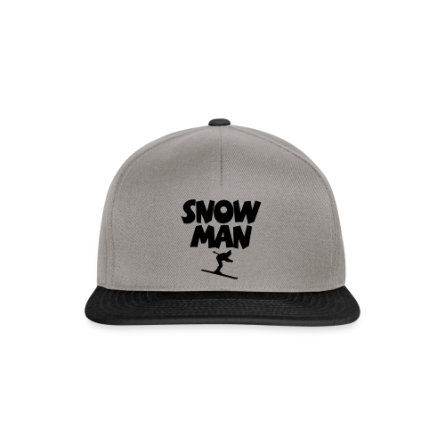 Snowman Après-Ski T-Shirt (Grau/Schwarz/Rücken) - Snapback Cap