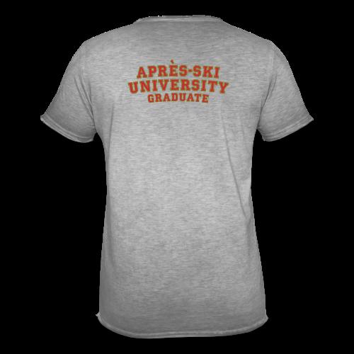 Après-Ski University Graduate T-Shirt (Damen Weiß) Rückenaufdruck - Männer Vintage T-Shirt