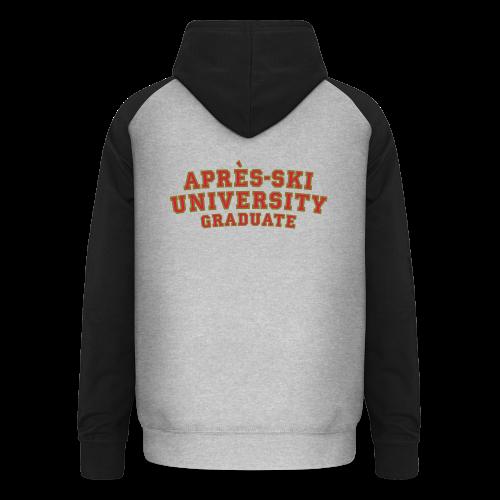 Après-Ski University Graduate T-Shirt (Damen Weiß) Rückenaufdruck - Unisex Baseball Hoodie