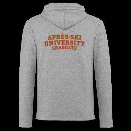 Après-Ski University Graduate T-Shirt (Damen Weiß) Rückenaufdruck - Leichtes Kapuzensweatshirt Unisex