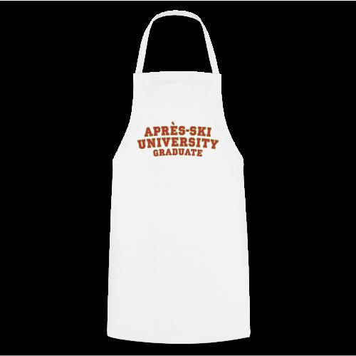 Après-Ski University Graduate T-Shirt (Damen Weiß) Rückenaufdruck - Kochschürze
