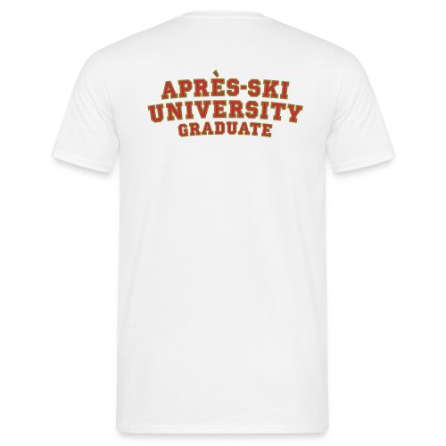 Après-Ski University Graduate T-Shirt (Damen Weiß) Rückenaufdruck - Männer T-Shirt