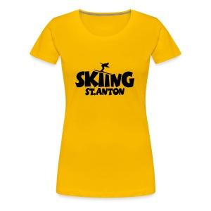 Skiing St. Anton T-Shirt (Herren Gelb/Schwarz) - Frauen Premium T-Shirt