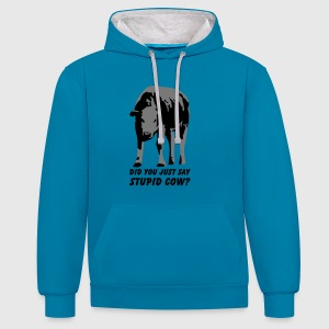Stupid Cow? T-Shirts - Contrast Colour Hoodie