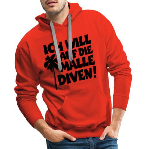 Malle Diven Solo T-Shirt mit Palme (Herren Rot/Weiß) - Männer Premium Hoodie