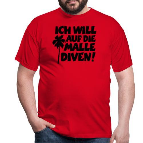 Malle Diven Solo T-Shirt mit Palme (Herren Rot/Weiß) - Männer T-Shirt