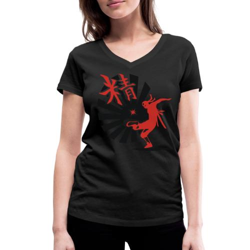 Hack Ninja! – Organic © forbiddenshirts.de - Frauen Bio-T-Shirt mit V-Ausschnitt von Stanley & Stella