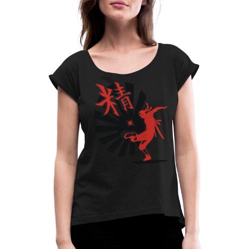 Hack Ninja! – Organic © forbiddenshirts.de - Frauen T-Shirt mit gerollten Ärmeln