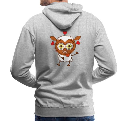 Crazy sheep feeling lucky in love Hoodies & Sweatshirts - Men's Premium Hoodie
