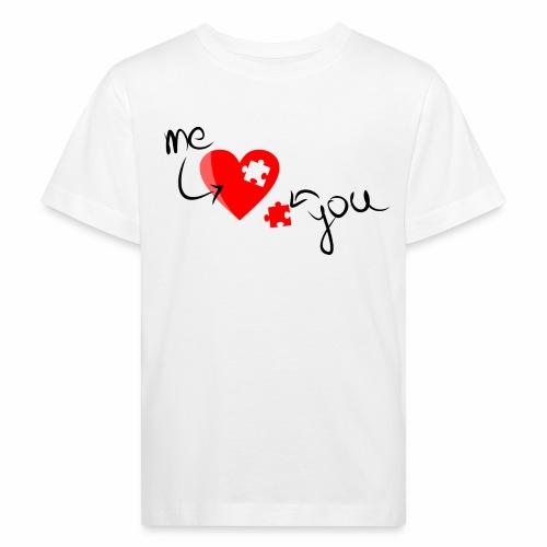 Liebe und Herzpuzzel - Kinder Bio-T-Shirt