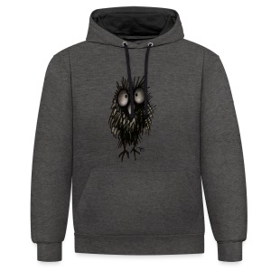 Funny Sleepy Stoned Owl - Contrast Colour Hoodie