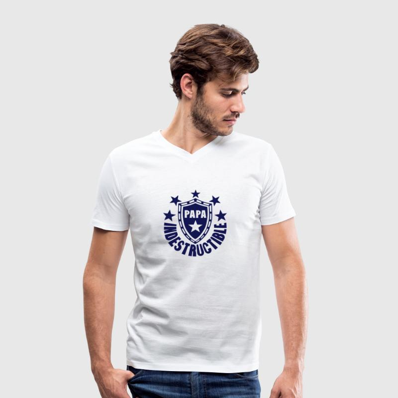 papa indestructible bouclier logo Tee shirts - T-shirt Homme col V