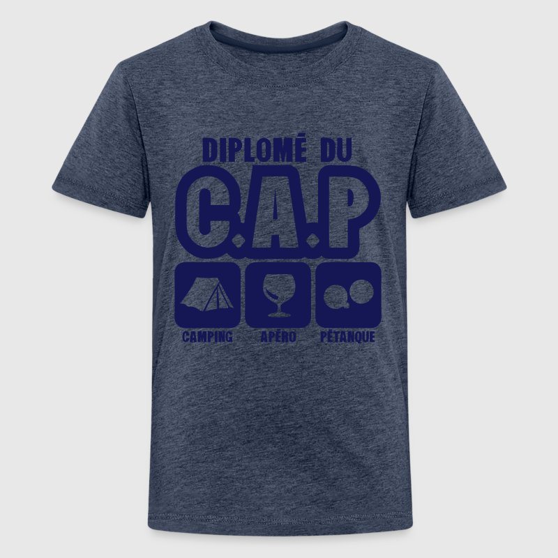 diplome cap camping apero petanque humou Tee shirts - T-shirt Premium Ado