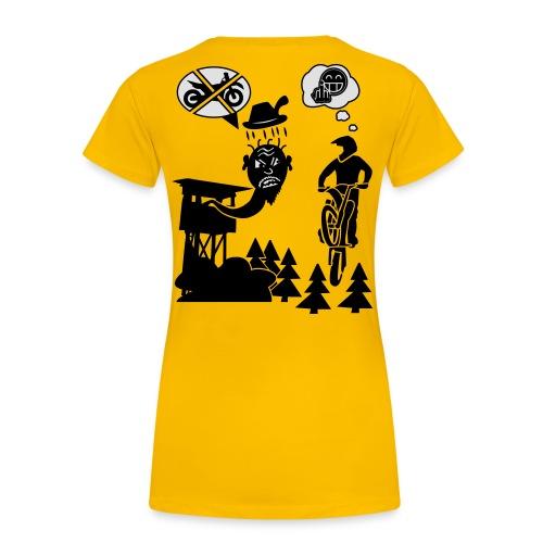 Biker vs. Hunter back HQ colour - Frauen Premium T-Shirt