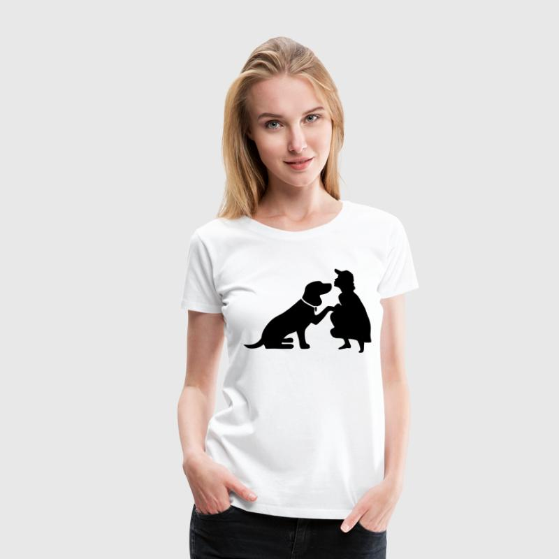 Dog with mistress T-Shirts - Women's Premium T-Shirt