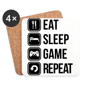 Eat Sleep Game Repeat 2 - Coasters (set of 4)