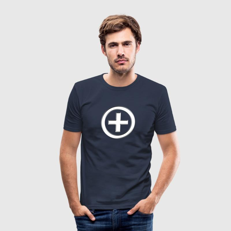 POSITIVE!  Energy Symbol, silver, digital, symbol, - Men's Slim Fit T-Shirt