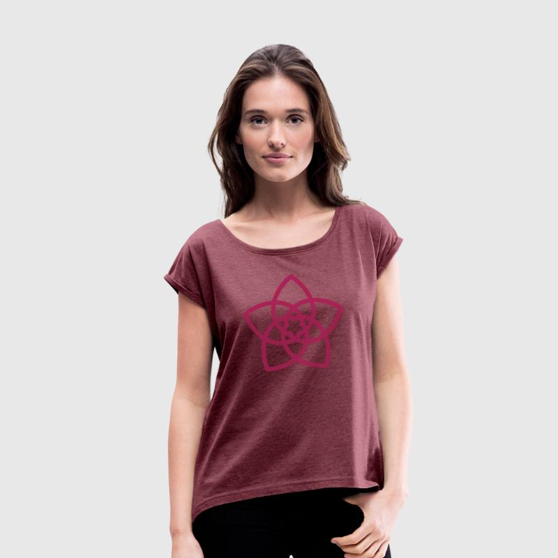 Venus Flower, Vector - FLOWER OF LOVE, symbol of l - Women's T-shirt with rolled up sleeves