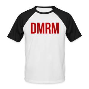 DMRM Large & Text on Back - Men's Baseball T-Shirt