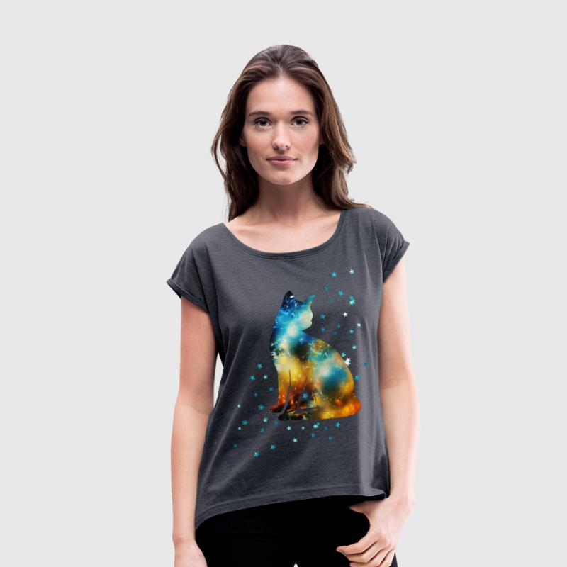 Space Pussy on the Milky Way, Galaxy, Cat, Star T- - Women's T-shirt with rolled up sleeves