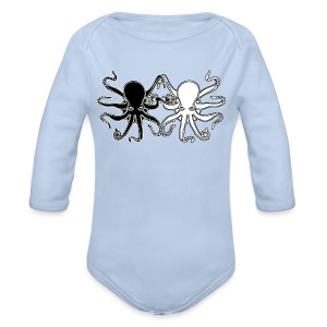 Pulpos.Camiseta contraste hombre - Body orgánico de manga larga para bebé