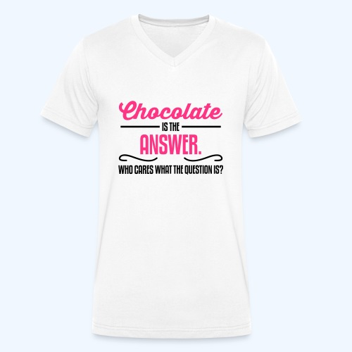 Chocolate Ladies T-Shirt - Men's Organic V-Neck T-Shirt by Stanley & Stella