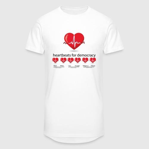 Mens tshirt with heartbeat for democracy - Herre Urban Longshirt
