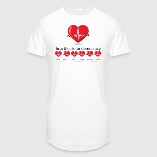 Mens tshirt with heartbeat for democracy - Herre Urban Longshirt