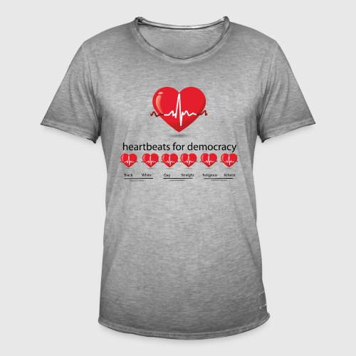 Mens tshirt with heartbeat for democracy - Herre vintage T-shirt