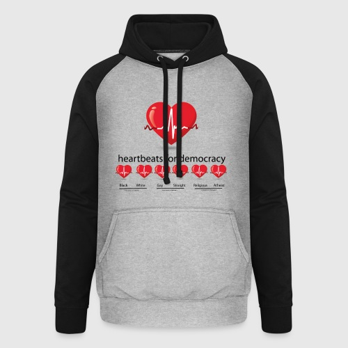 Mens tshirt with heartbeat for democracy - Unisex baseball hoodie
