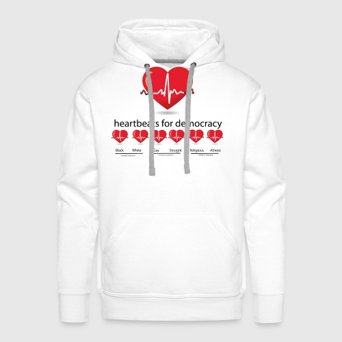 Mens tshirt with heartbeat for democracy - Herre Premium hættetrøje