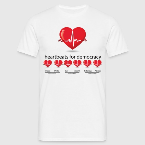 Mens tshirt with heartbeat for democracy - Herre-T-shirt