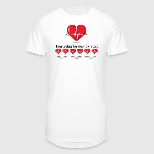 Mens tshirt with hjerteslag for demokrati - Herre Urban Longshirt