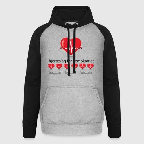 Mens tshirt with hjerteslag for demokrati - Unisex baseball hoodie