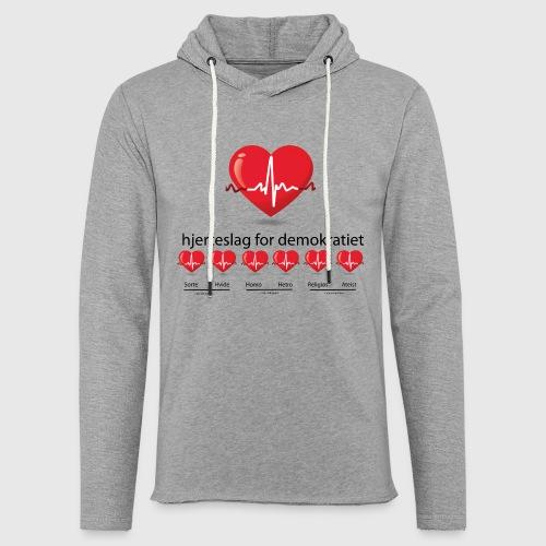 Mens tshirt with hjerteslag for demokrati - Let sweatshirt med hætte, unisex