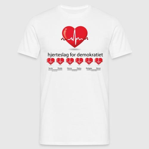 Mens tshirt with hjerteslag for demokrati - Herre-T-shirt