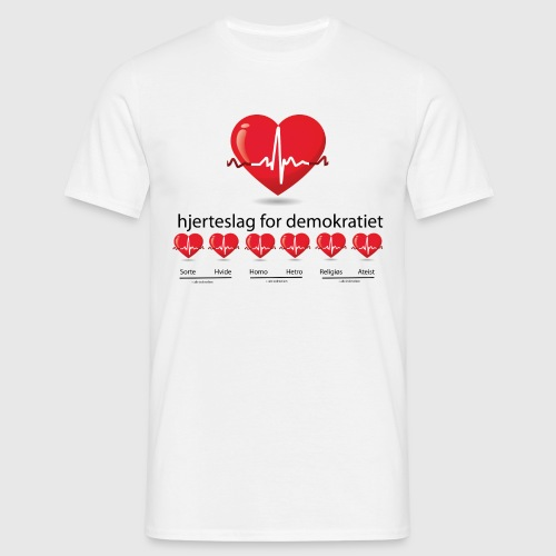 Mens tshirt with hjerteslag for demokrati - Herre-T-shirt
