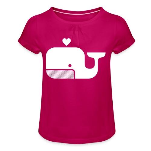 Ben der Blauwal  - Mädchen-T-Shirt mit Raffungen