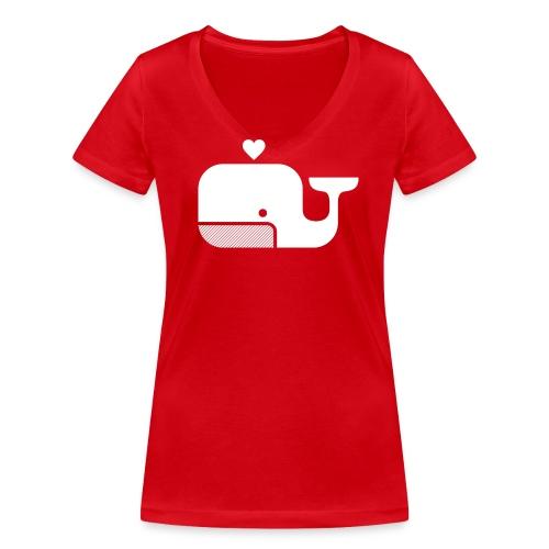 Ben der Blauwal  - Frauen Bio-T-Shirt mit V-Ausschnitt von Stanley & Stella
