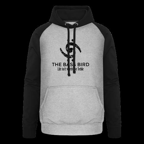 The Bass Bird T-Shirt (Damen Weiß/Schwarz) Premium - Unisex Baseball Hoodie