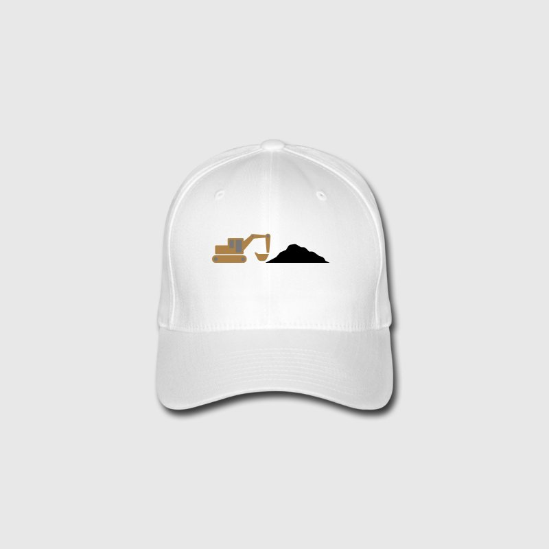 Excavator on a construction site Caps & Hats - Flexfit Baseball Cap