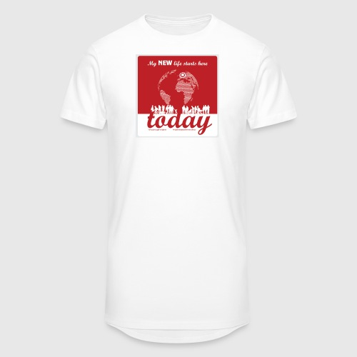Mens Tshirt. - My NEW life starts today - Herre Urban Longshirt